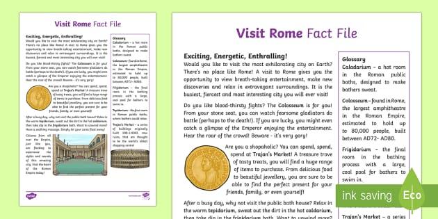 Visit Rome Fact File - Ancient Rome, Romans, Colosseum, public baths, Trajan market, persuasion