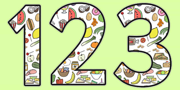 Food Themed Display Numbers - food numbers, food themed numbers, food display numbers, food, food numbers for display, food display lettering and numbers