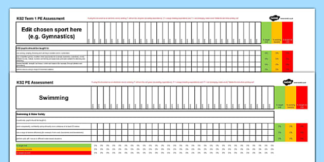 Key Stage 2 PE Assessment Spreadsheet - ks2, key stage 2, pe, assessment, spreadsheet, physical education