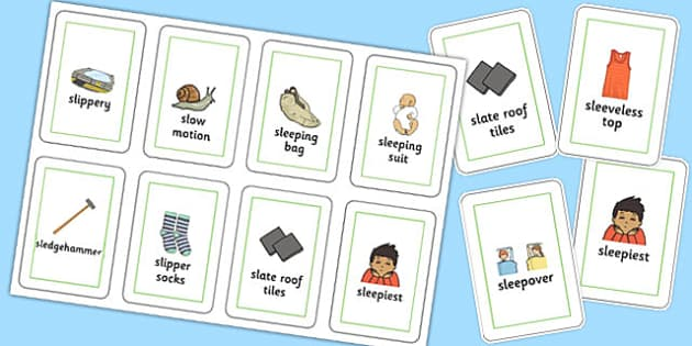 Three Syllable SL Flash Cards - sen, sound, special educational needs, sl, flash cards
