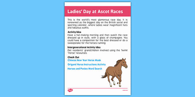 Elderly Care Calendar Planning June 2016 Ladies' Day at Ascot Races - Elderly Care, Calendar Planning, Care Homes, Activity Co-ordinators, Support, June 2016