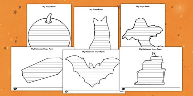 Halloween Shape Poetry Templates - halloween, shape poetry templates, poetry, poetry template, poem, halloween worksheet, halloween poems, writing templates