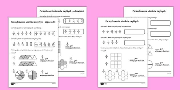 Arkusz Ułamki i porządkowanie po polsku - matematyka