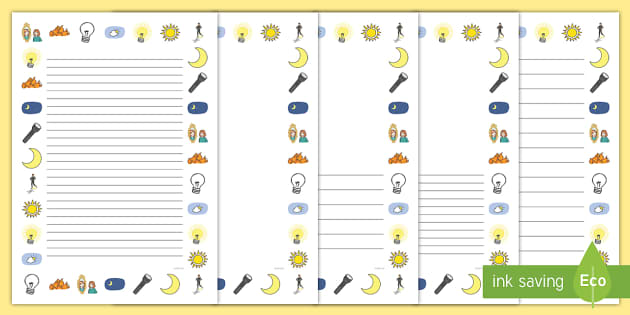 Light and Dark Page Borders - Page border, a4 border, template, writing aid, writing border, page template, Light and Dark, Day and Night, A4, display, science, day, night, shadow, reflection, reflective, bright, tint, colour, shade