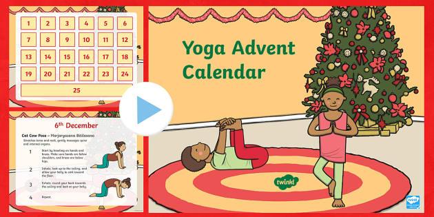 Yoga Advent Calendar PowerPoint - Advent, advent calendar, yoga, yoga poses, Christmas