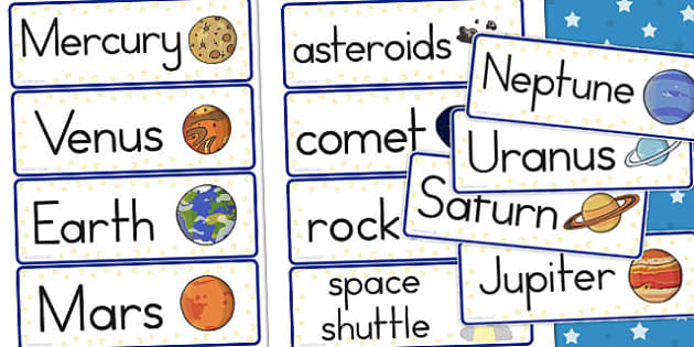Space Word Cards - literacy, visual, aids, galaxy, words, visuals