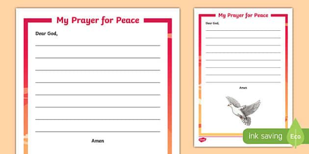 My Prayer for Peace Writing Activity Sheet-Irish, worksheet