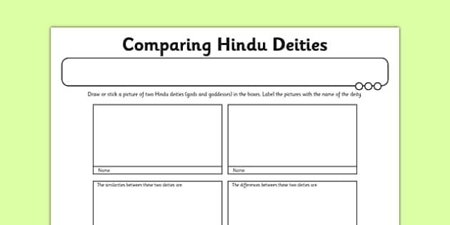 Hinduism Activity Sheet Comparing Hindu Deities - hinduism, deities, gods, goddesses, worship, ks2, key stage 2, re, worksheet