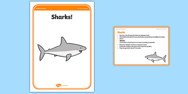 Foundation PE (Reception) Sharks Warm-Up Activity Card - physical activity, foundation stage, physical development, games, dance, gymnastics