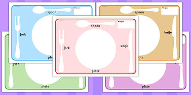 Editable Plate and Cutlery Placemats With Allergies - plate, cutlery, placemats