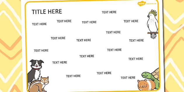 Pets Themed Editable Word Mat - literacy, words, writing, mats