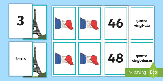 French Number Snap Matching Cards - French games, french numbers, french numbers 0-100, ,Scottish