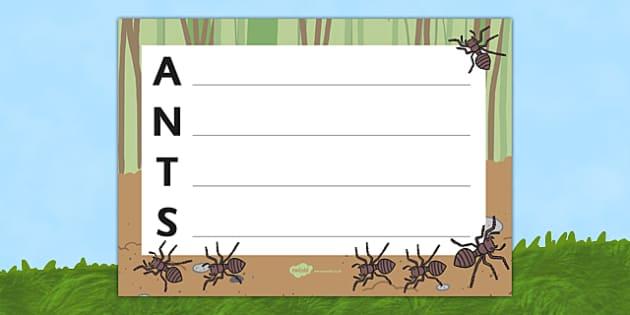 Ants Acrostic Poem - acrostic poems, acrostic poem, acrostic, ants, ants acrostic poem, poetry, minibeast poetry, insects poetry, minibeast poem, ant, ants, ant poem, ants poem template, poem, poetry, literacy, writing activity, activity