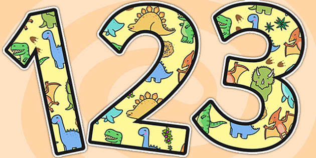 Cute Dinosaur Themed A4 Display Numbers - dinosaurs, numbers