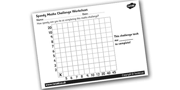 Speedy Maths Challenge Worksheet 2 - maths challenge, maths challenge worksheet, times tables, times tables challenge, timed maths challenge, ks2 numeracy