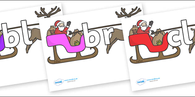 Initial Letter Blends on Sleighs - Initial Letters, initial letter, letter blend, letter blends, consonant, consonants, digraph, trigraph, literacy, alphabet, letters, foundation stage literacy