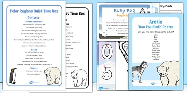 Polar Regions Quiet Time Box - Polar animals penguins polar bear, arctic, antarctic