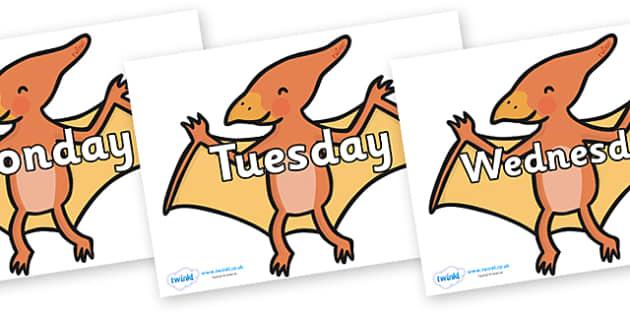 Days of the Week on Pterodactyl-Dinosaurs - Days of the Week, Weeks poster, week, display, poster, frieze, Days, Day, Monday, Tuesday, Wednesday, Thursday, Friday, Saturday, Sunday