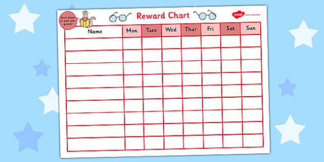 Reward Sticker Chart for Wearing Glasses - reward, sticker chart, wearing