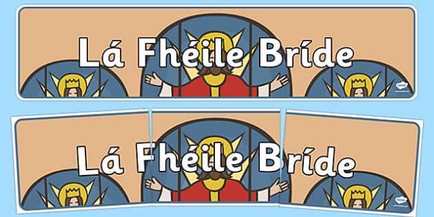 Lá Fhéile Bríde Banner - Gaeilge, Irish, Banner, St. Brigid's Day, Display