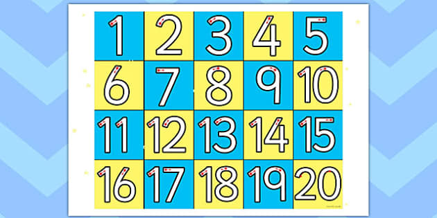 20 Grid  - numbers, maths, numeracy, grids, counting, count