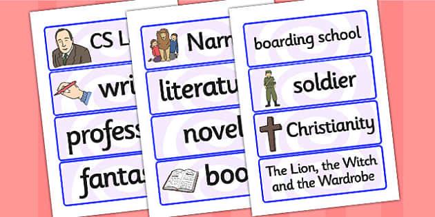 CS Lewis Word Cards - CS Lewis, word cards, topic cards, themed word cards, themed topic cards, key words, key word cards, keyword, writing aid, writing