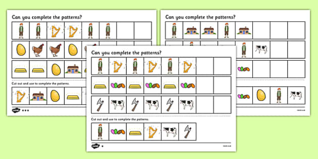 Jack and the Beanstalk Complete the Pattern Activity Sheet Pack - pattern, worksheet
