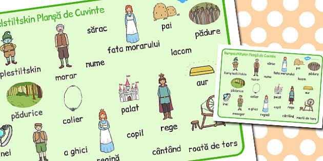 Rumpelstiltskin Plansa cu imagini si cuvinte din poveste A4, Romanian