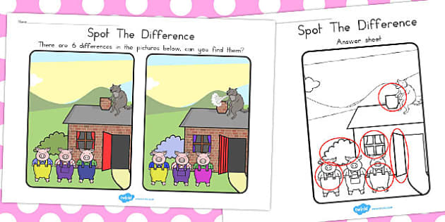 The Three Little Pigs Spot the Difference Activity - australia