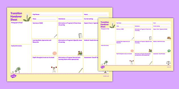 SEN Nursery Pre-School to Reception Handover Transition Sheet