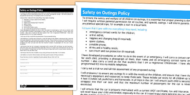 Childminder Safety on Outings Policy - child minder, rules