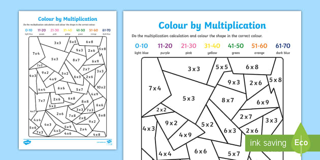 Colour by Multiplication - colour, multiplication, colouring, times tables, activities, games, maths games, numeracy, numeracy puzzles, number games
