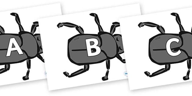 A-Z Alphabet on Beetles - A-Z, A4, display, Alphabet frieze, Display letters, Letter posters, A-Z letters, Alphabet flashcards