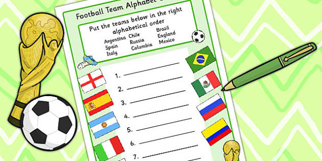 Football World Cup Team Alphabet Ordering Worksheet - sports, pe