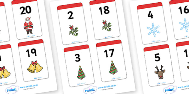 Christmas Themed Number Bonds to 20 Matching Cards - christmas