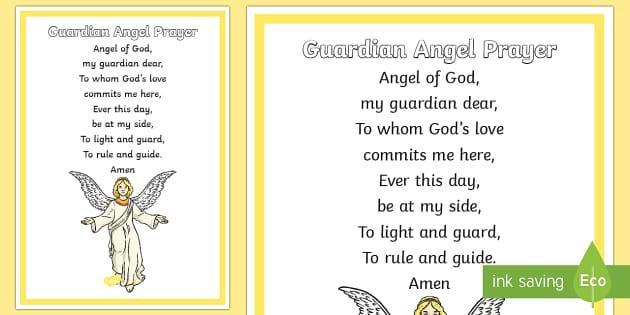 Guardian Angel Prayer A4 Display Poster-Scottish - CfE Catholic Christianity, prayers, mass responses, Guardian Angel,Scottish