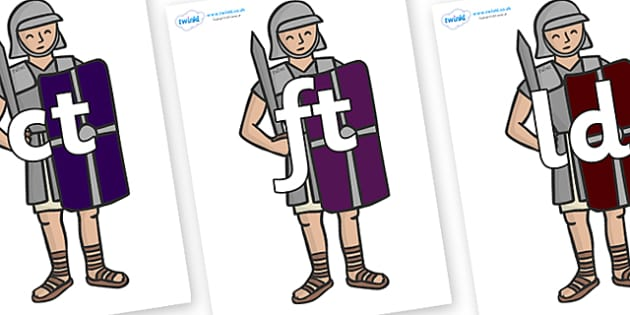 Final Letter Blends on Roman Legionaries - Final Letters, final letter, letter blend, letter blends, consonant, consonants, digraph, trigraph, literacy, alphabet, letters, foundation stage literacy