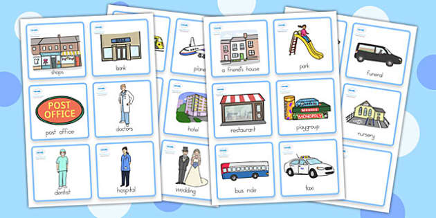 Special Needs Communication Cards Places You Go - place you go