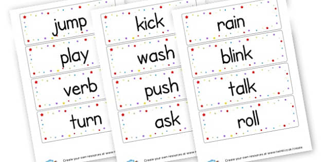 Verbs Word Cards