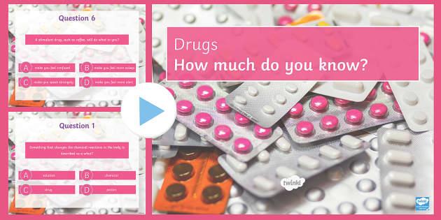 Drugs Quiz PowerPoint - PowerPoint Quiz, Drugs, Depressant, Stimulant, Alcohol, Legal, Illegal