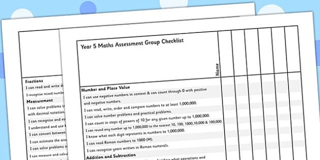 Year 5 Maths Assessment Group Checklist - maths, assessment