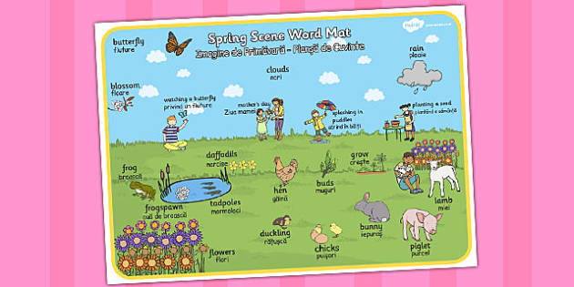 Spring Scene Word Mat Romanian Translation - seasons, season