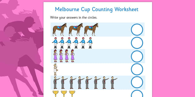 The Melbourne Cup Counting Worksheet - australia, melbourne cup, counting, worksheet