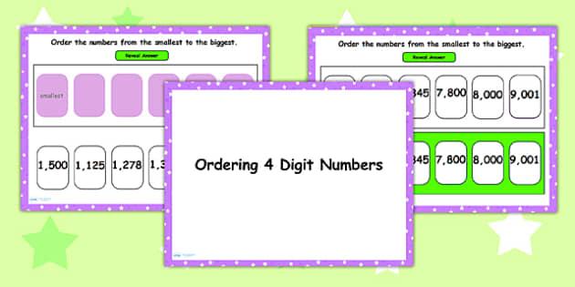 Ordering 4 Digit Numbers Flipchart - order, numbers, numeracy