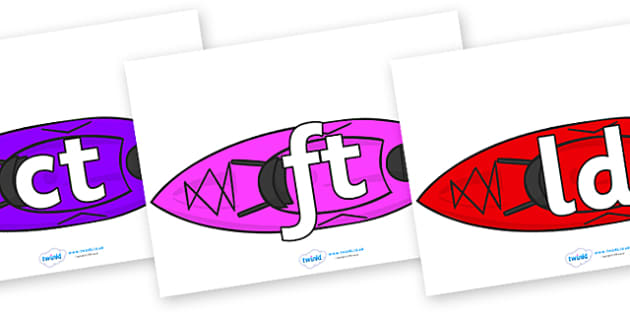Final Letter Blends on Canoes - Final Letters, final letter, letter blend, letter blends, consonant, consonants, digraph, trigraph, literacy, alphabet, letters, foundation stage literacy