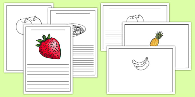 Fruit Salad Writing Frames - olivers fruit salad, fruit salad, writing frames