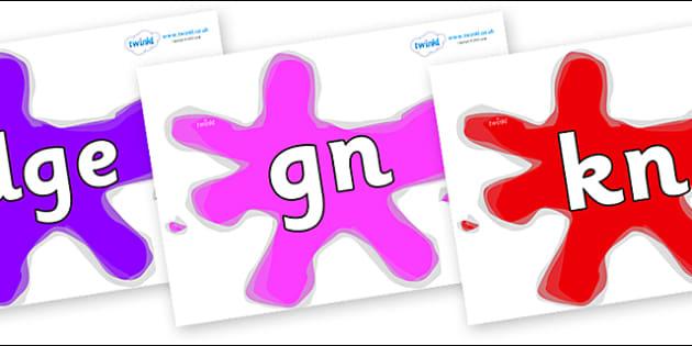 Silent Letters on Splats - Silent Letters, silent letter, letter blend, consonant, consonants, digraph, trigraph, A-Z letters, literacy, alphabet, letters, alternative sounds
