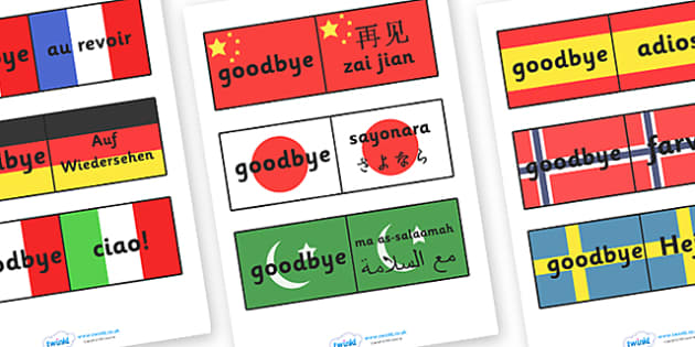 Goodbye Languages On Flags - Goodbye sign, flag, flags, adios, adeus, auf Wiedersehen, au revoir, bye, language, different languages