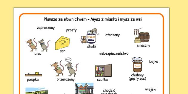 Plansza ze słownictwem Mysz z miasta i mysz ze wsi po polsku