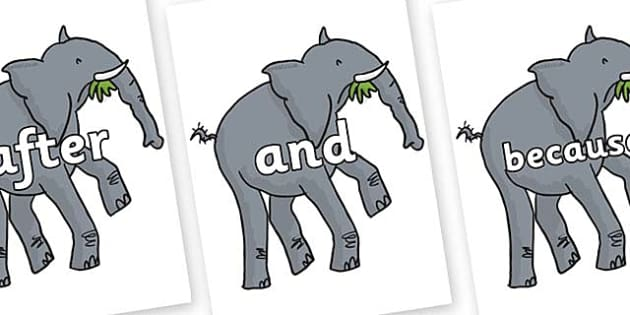 Connectives on Trunky The Elephant to Support Teaching on The Enormous Crocodile - Connectives, VCOP, connective resources, connectives display words, connective displays